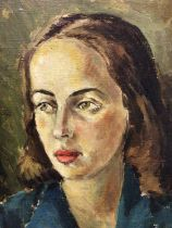 Cecil Riley (1917-2015), oil on canvas portrait of a young woman