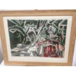 Allin Braund (1915-2004) print, Red boat under trees