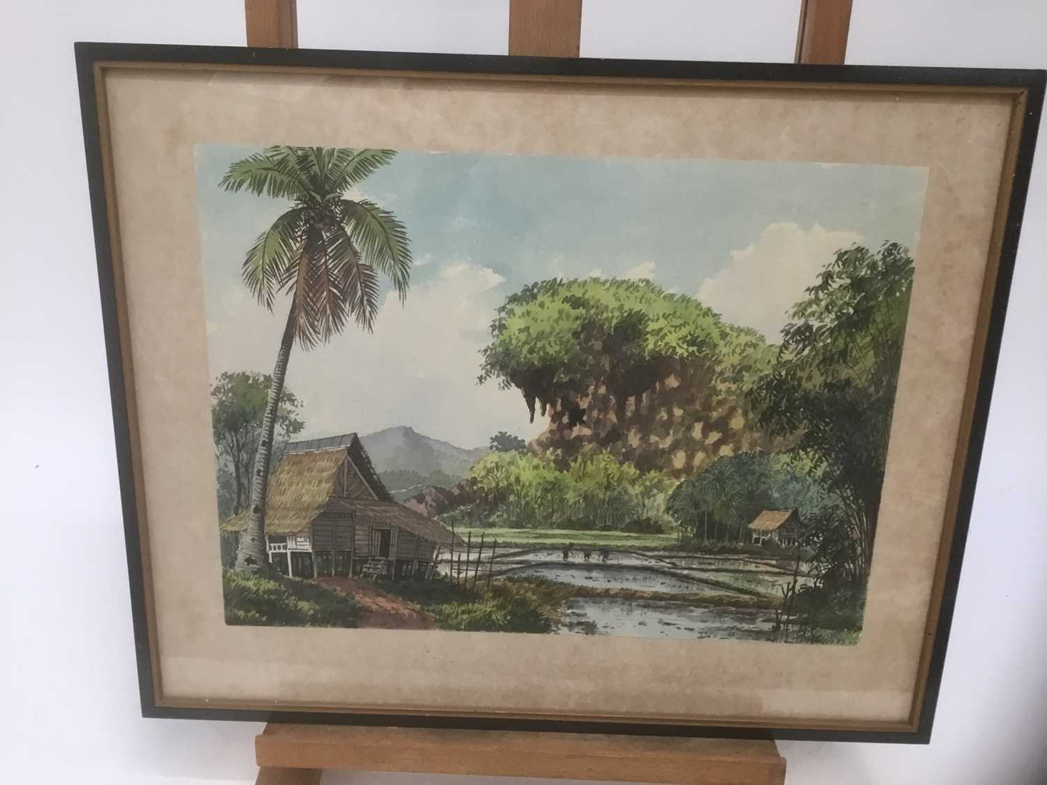 Abu Baker Ibrahim (1925-1977) pair of watercolours, Malayan landscapes, signed - Image 5 of 8