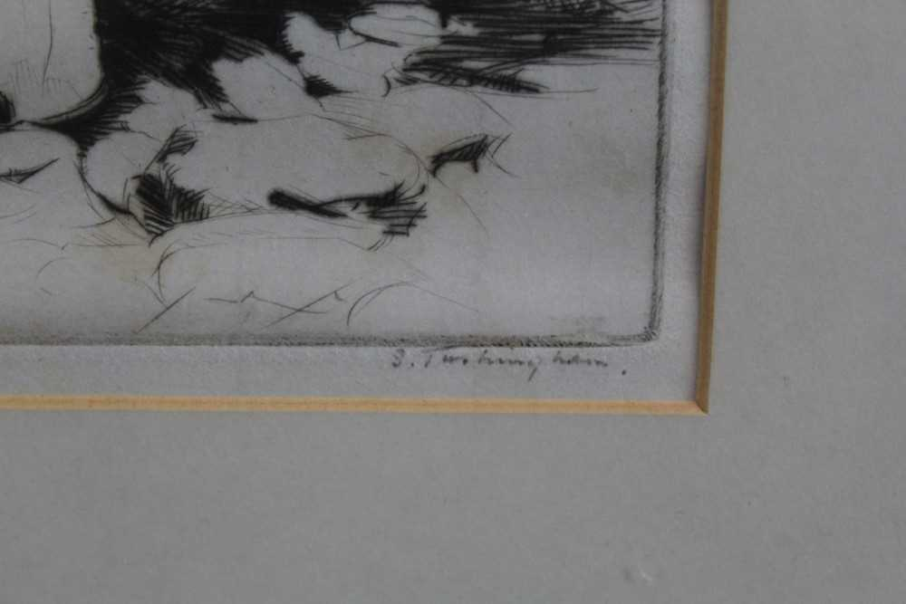 Sidney Tushingham (1884-1968) signed etching - two children, 26cm x 30cm, in glazed frame p - Image 3 of 10