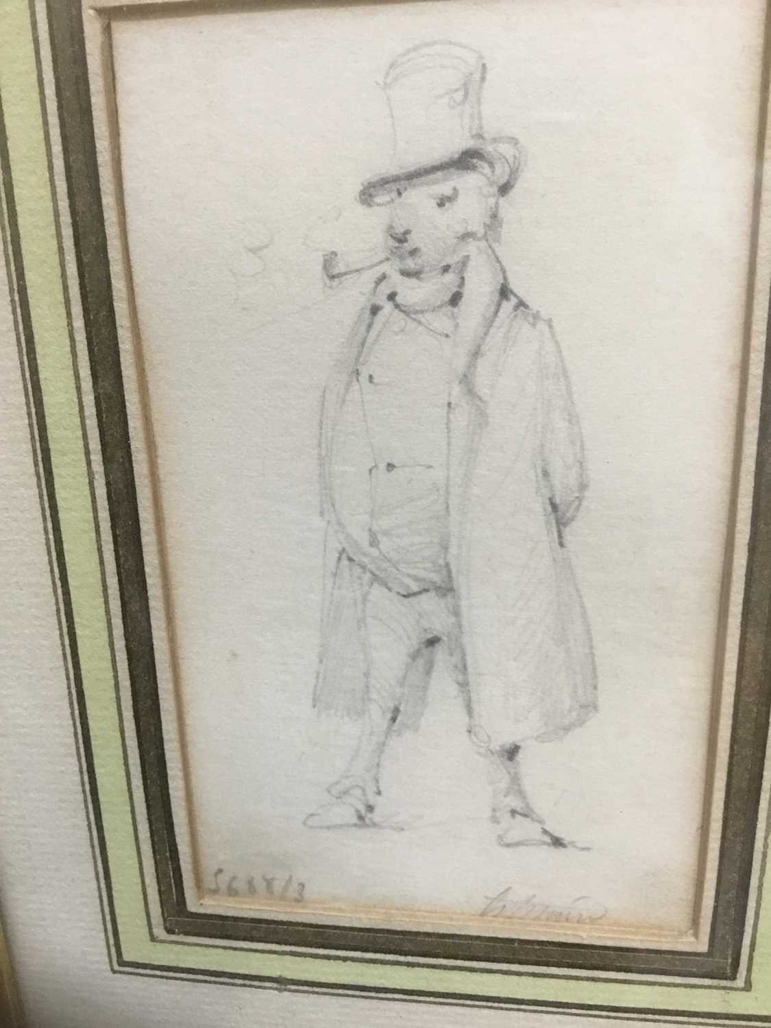 Henry Bonaventure Monnier (1805-1877) three pencil sketch caricatures of figures, tow signed, 14.5cm - Image 5 of 9