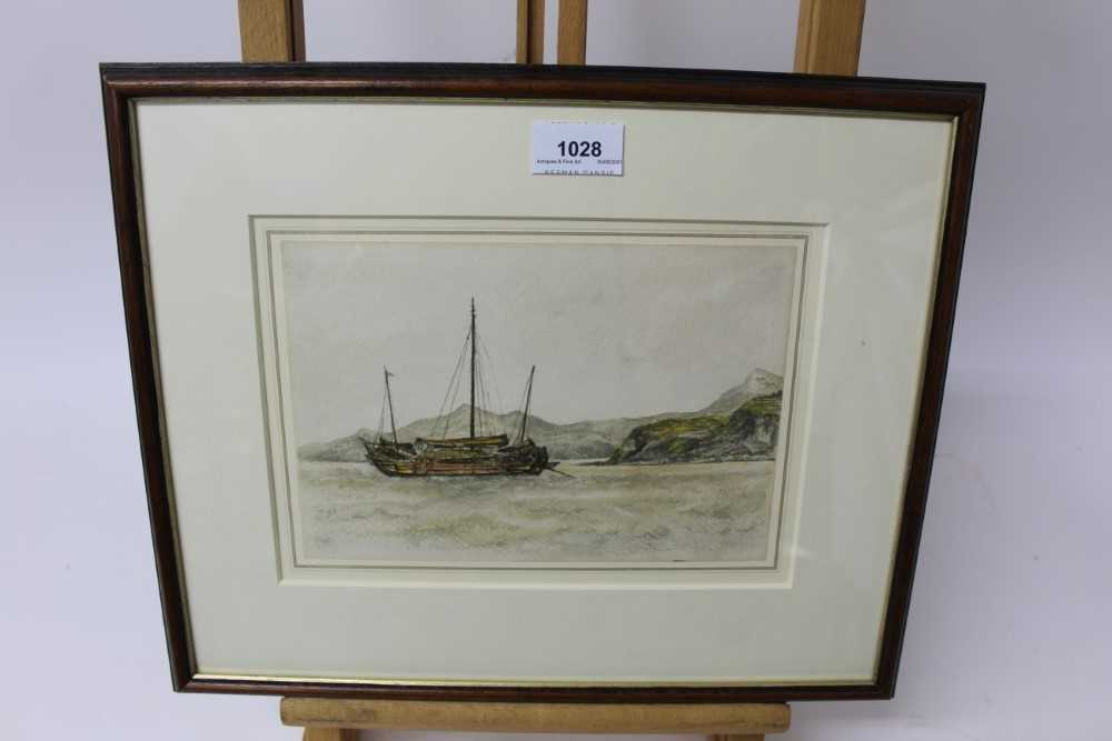 Sir Rutherford Alcock (1809-1897) pencil and watercolour - Junk off headland at the Woofoomun, - Image 2 of 8