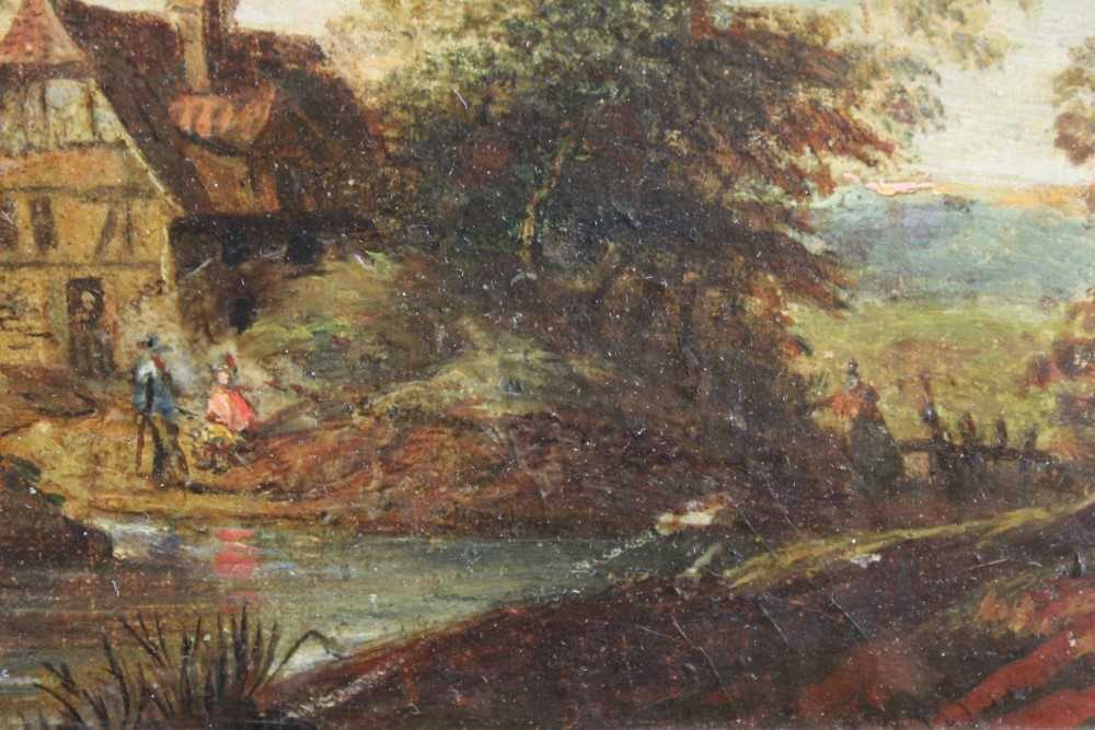 Nasmyth, 19th century, oil on board - figures before a country cottage, indistinctly signed, 14.5cm - Image 5 of 9