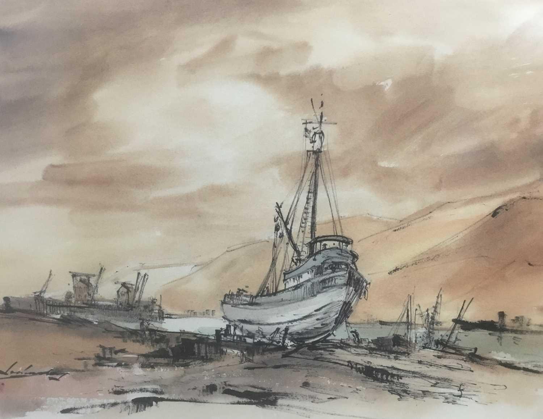 Kurt Schicketanz watercolours 'Lago todo los Santos' and 'Caleta de Pescadores Iquique'