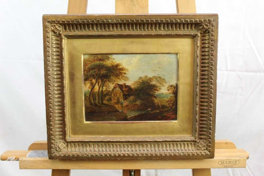 Nasmyth, 19th century, oil on board - figures before a country cottage, indistinctly signed, 14.5cm - Image 2 of 9