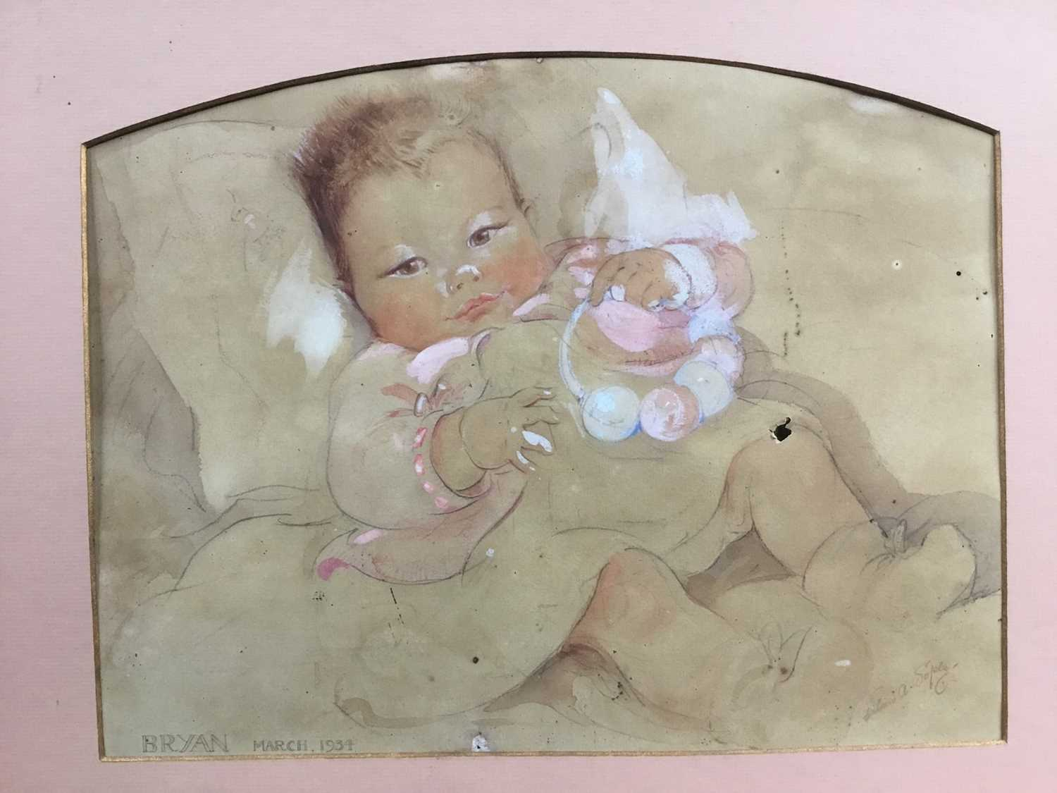 Eileen Alice Soper (1905-90), watercolour of a baby, 1934 and signed