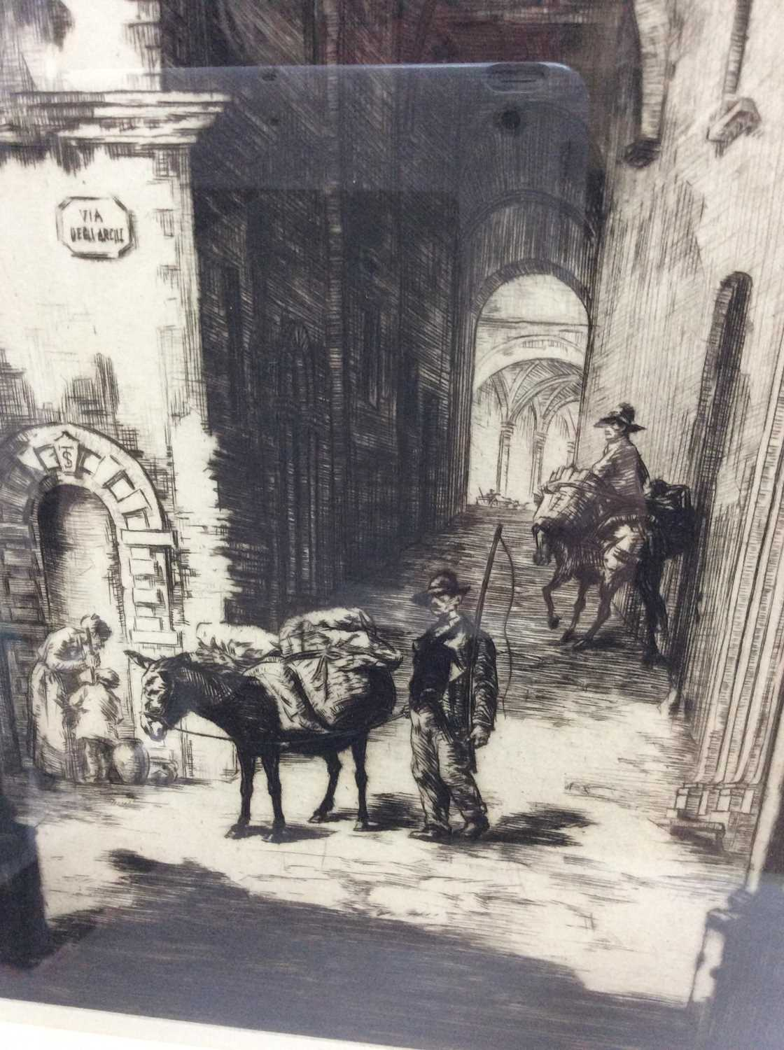 Sidney Tushingham (1884-1968) signed black and white etching - Continental Street, in glazed frame, - Image 2 of 4