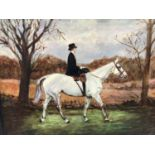 J. Whitmore early 20th Century, oil on canvas, A lady riding side-saddle on a grey hunter, signed. 3