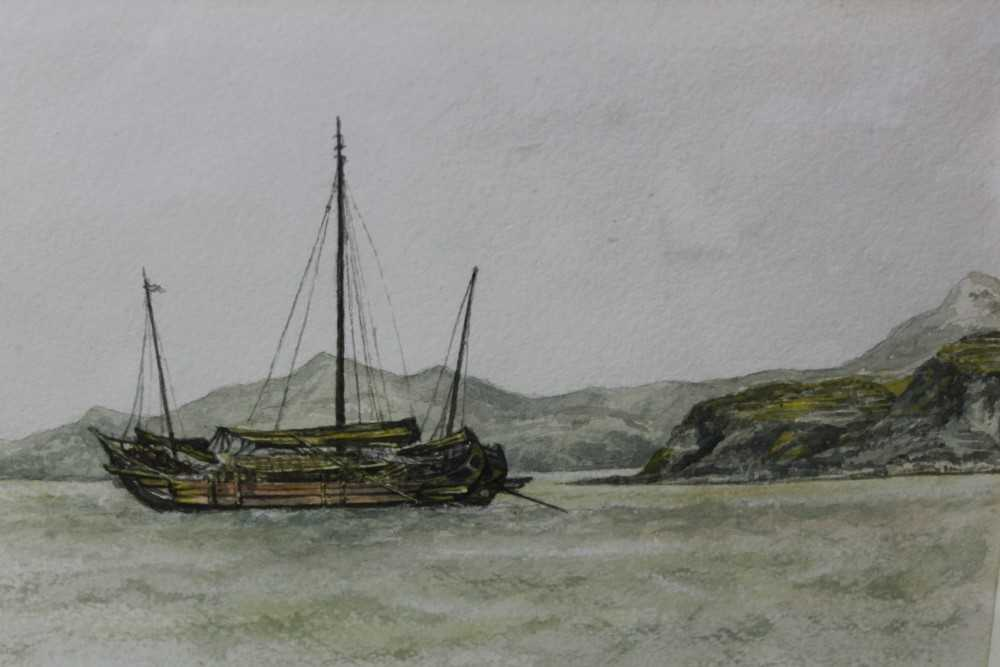 Sir Rutherford Alcock (1809-1897) pencil and watercolour - Junk off headland at the Woofoomun,