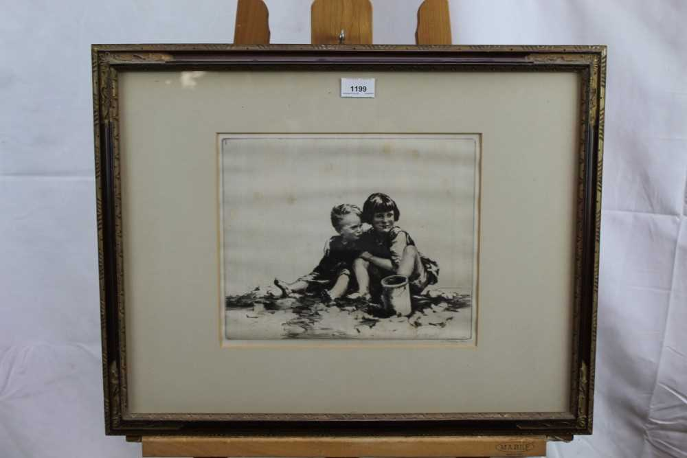 Sidney Tushingham (1884-1968) signed etching - two children, 26cm x 30cm, in glazed frame p - Image 2 of 10