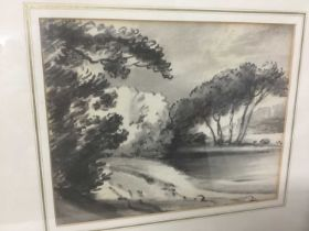 Thomas Monro (1759-1833) charcoal and wash - a landscape, in glazed gilt frame