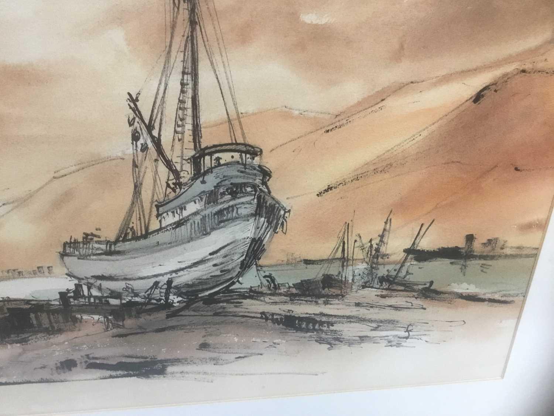 Kurt Schicketanz watercolours 'Lago todo los Santos' and 'Caleta de Pescadores Iquique' - Image 4 of 14
