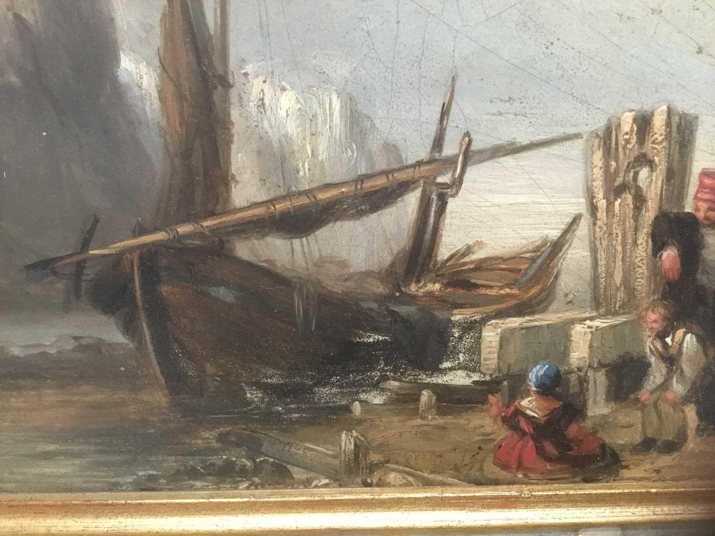 19th century oil on panel coastal scene - Image 7 of 13