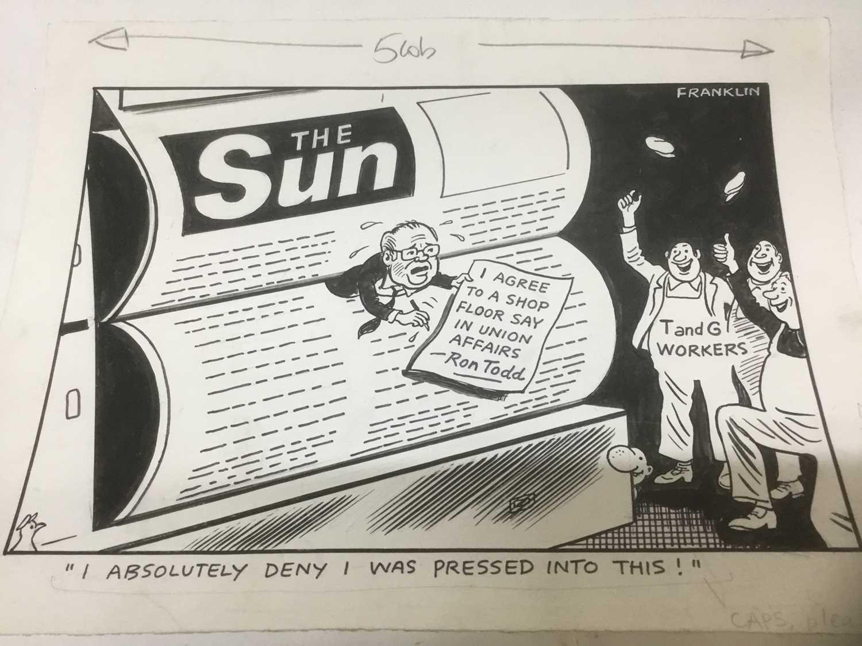 Franklin - group of original pen and ink political cartoons - Image 4 of 8