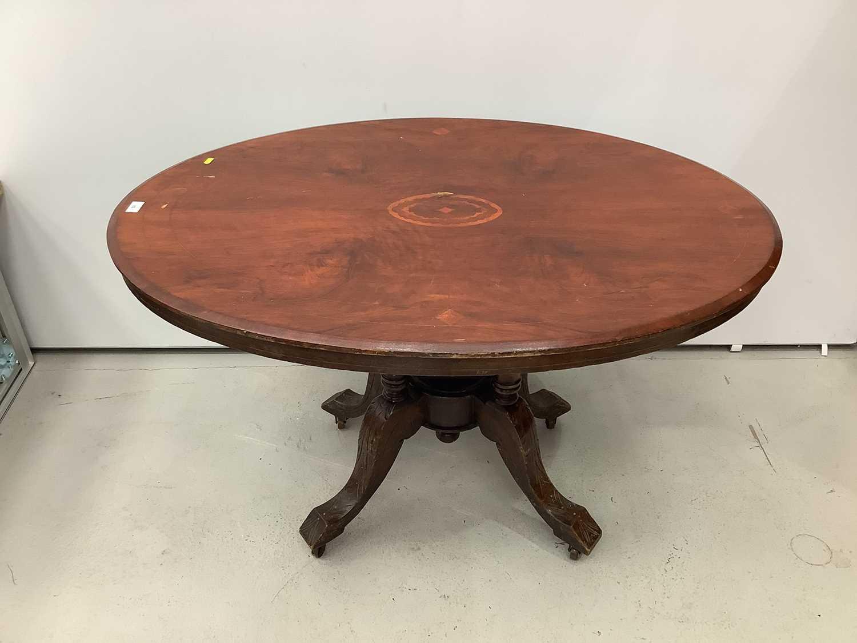 Victorian inlaid oval tilt top loo table 117cm