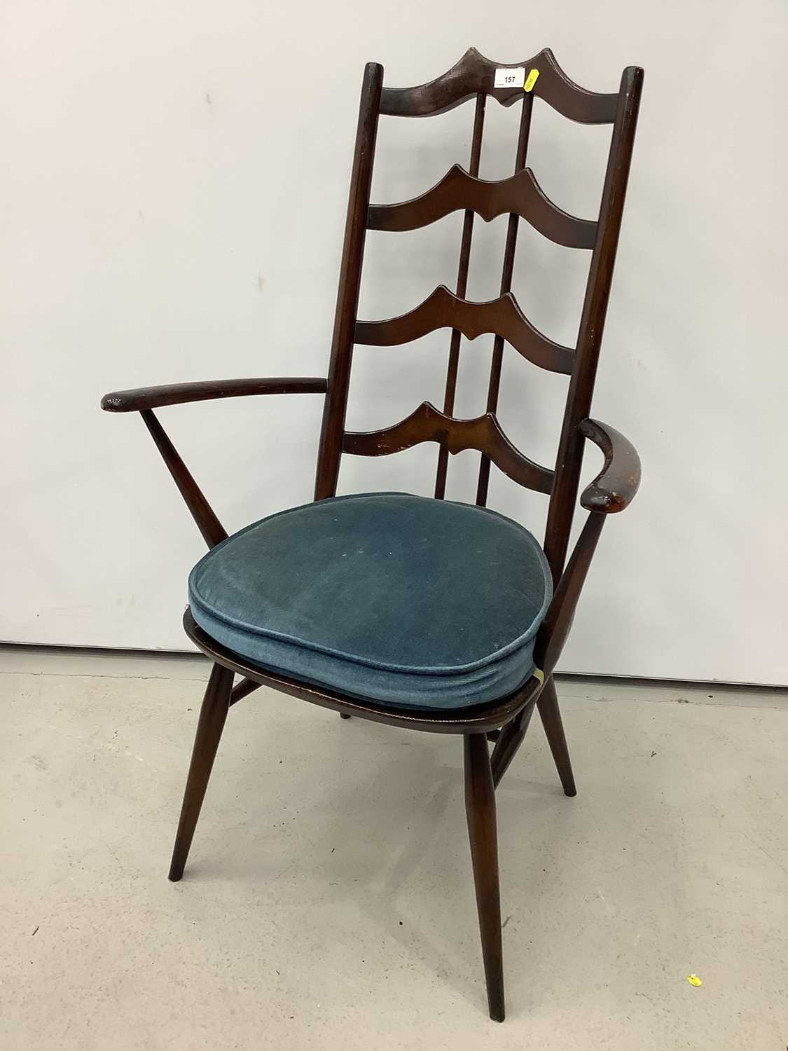 Unusual ercol ladder back elbow chair and an Edwardian corner cupboard - Image 9 of 9