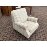 Contemporary armchair with green, grey and cream striped upholstery 88cm wide x 97cm high