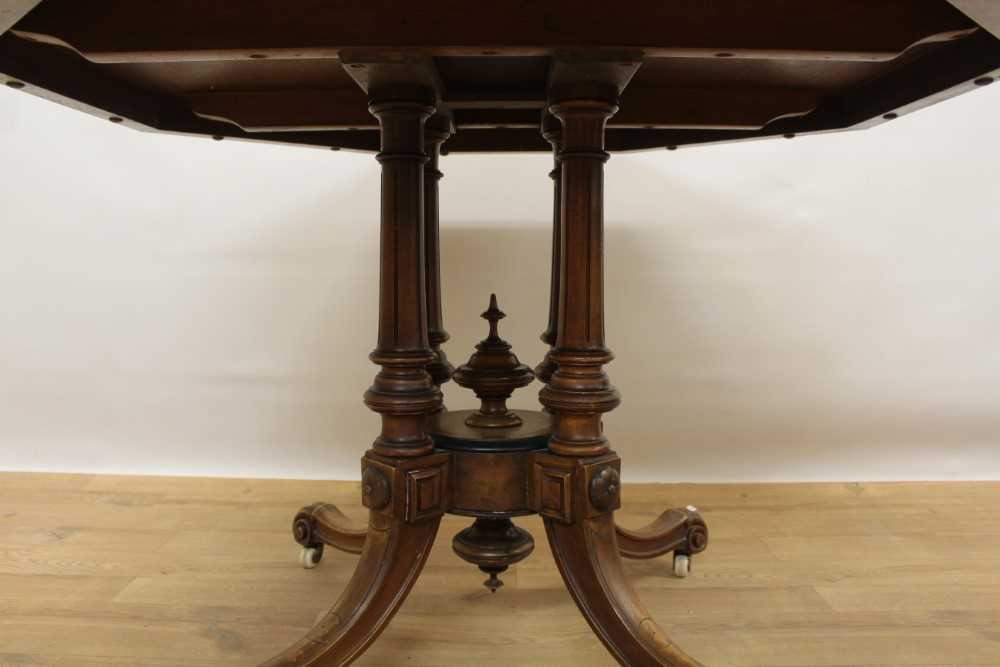 Victorian walnut octagonal centre table with burr wood crossbanding, on turned supports - Image 3 of 5