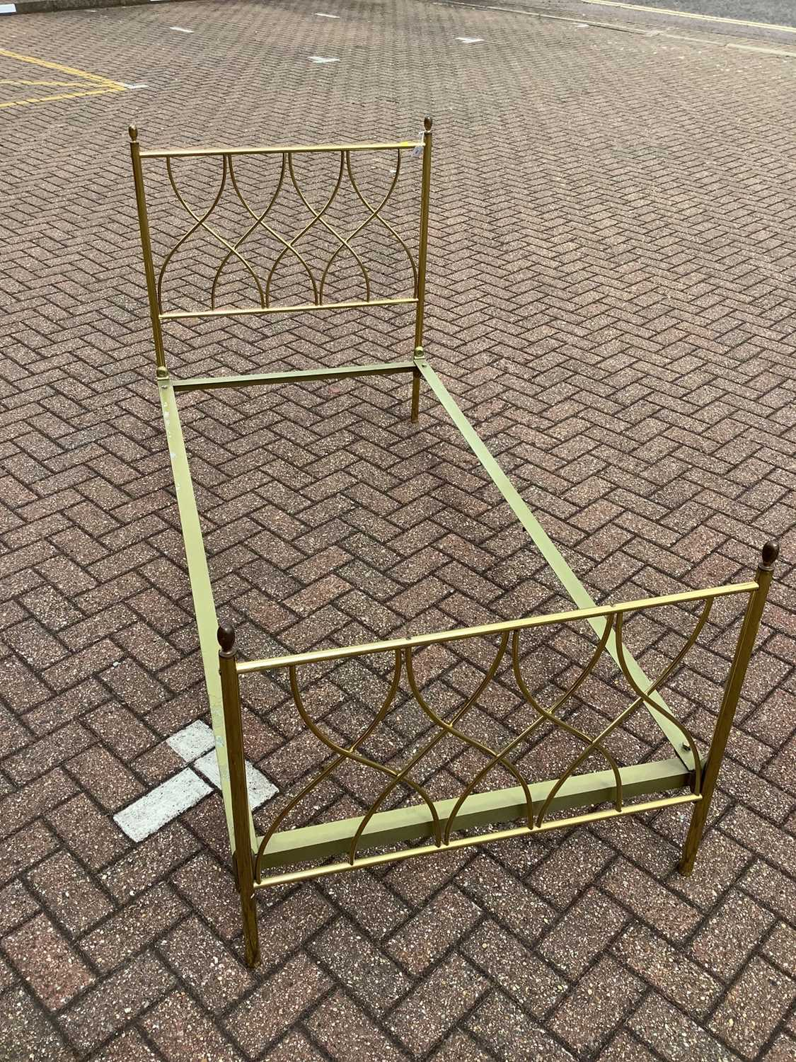 Brass single bed with side irons, 89cm wide