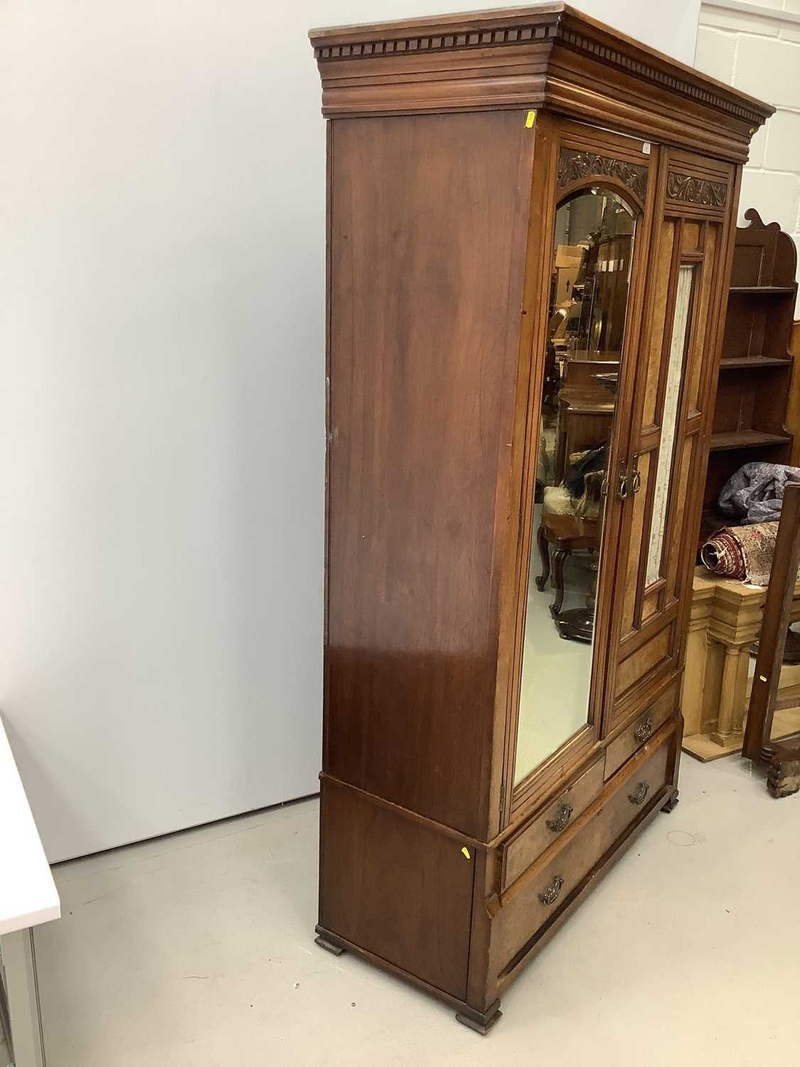Late Victorian walnut double wardrobe enclosed by one bevelled mirror door and one glazed and panell - Image 2 of 7