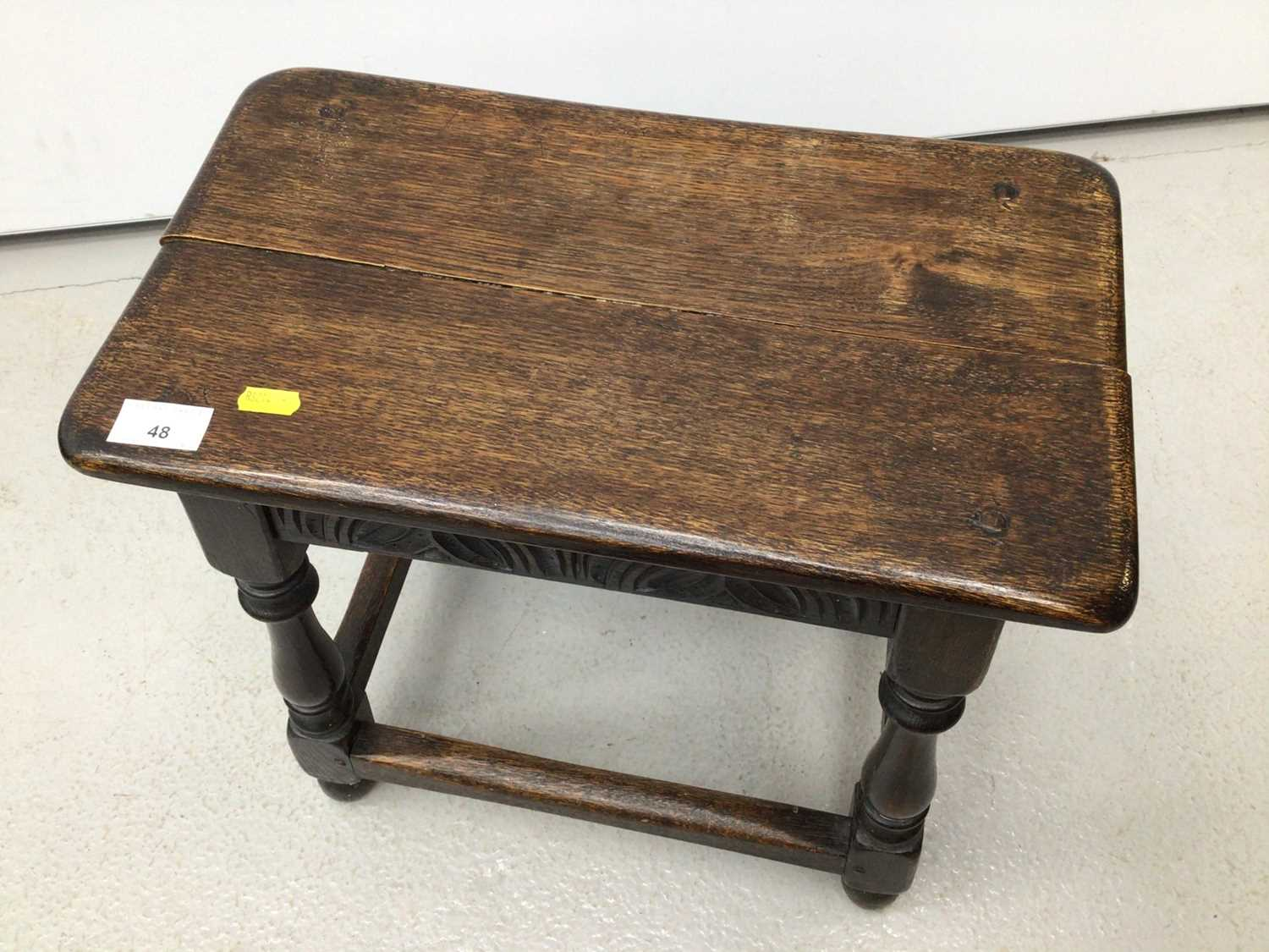 Carved oak joint stool on turned and block legs joined by stretchers, 44cm wide x 25cm deep x 45.5cm - Image 3 of 4