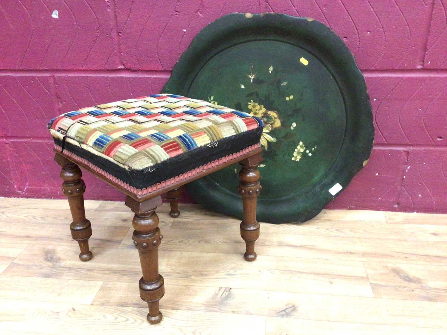 Victorian stool on turned mahogany legs and a Victorian paper mache tray