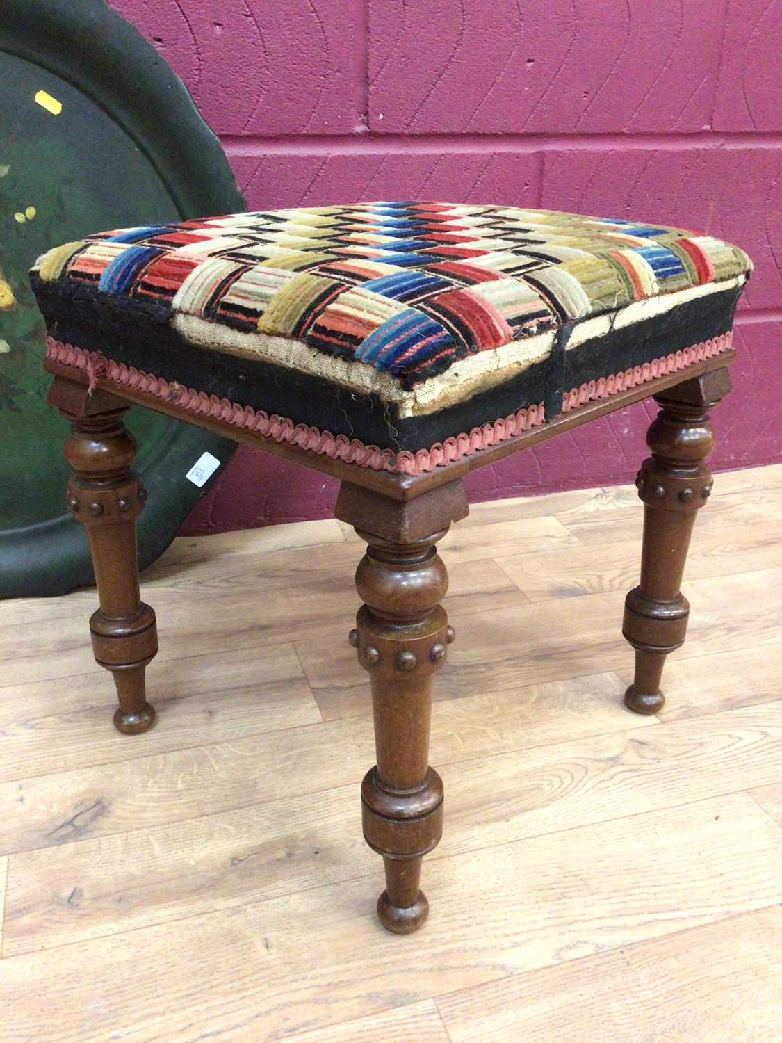 Victorian stool on turned mahogany legs and a Victorian paper mache tray - Image 5 of 5