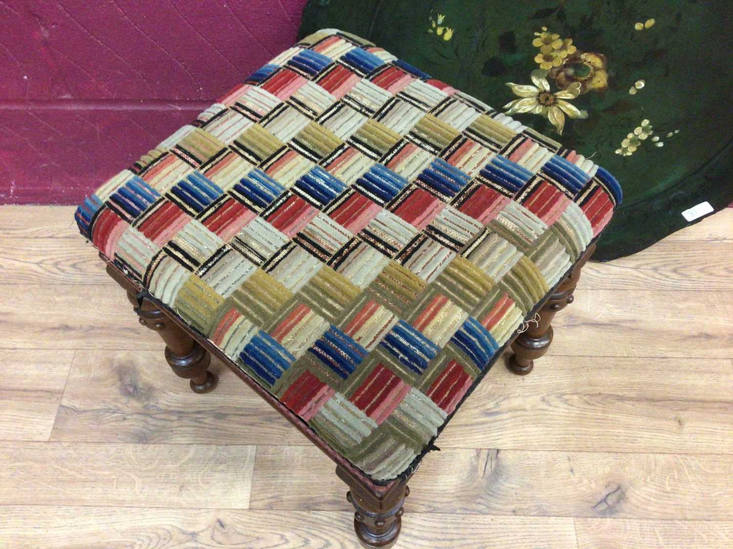 Victorian stool on turned mahogany legs and a Victorian paper mache tray - Image 3 of 5