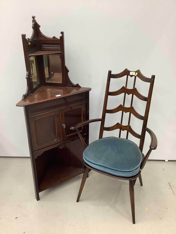 Unusual ercol ladder back elbow chair and an Edwardian corner cupboard