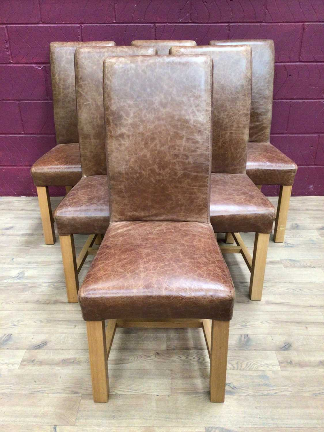 Set of six contemporary leather dining chairs