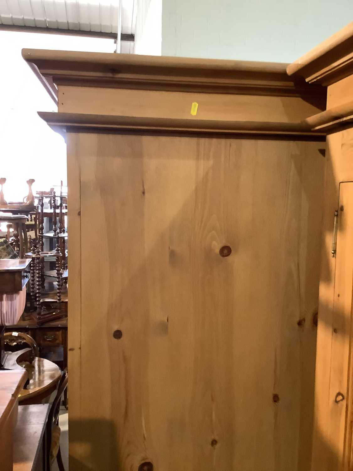 Modern pine double wardrobe with two panelled doors and drawer below, 97.5cm wide x 63cm deep x 208. - Image 5 of 14