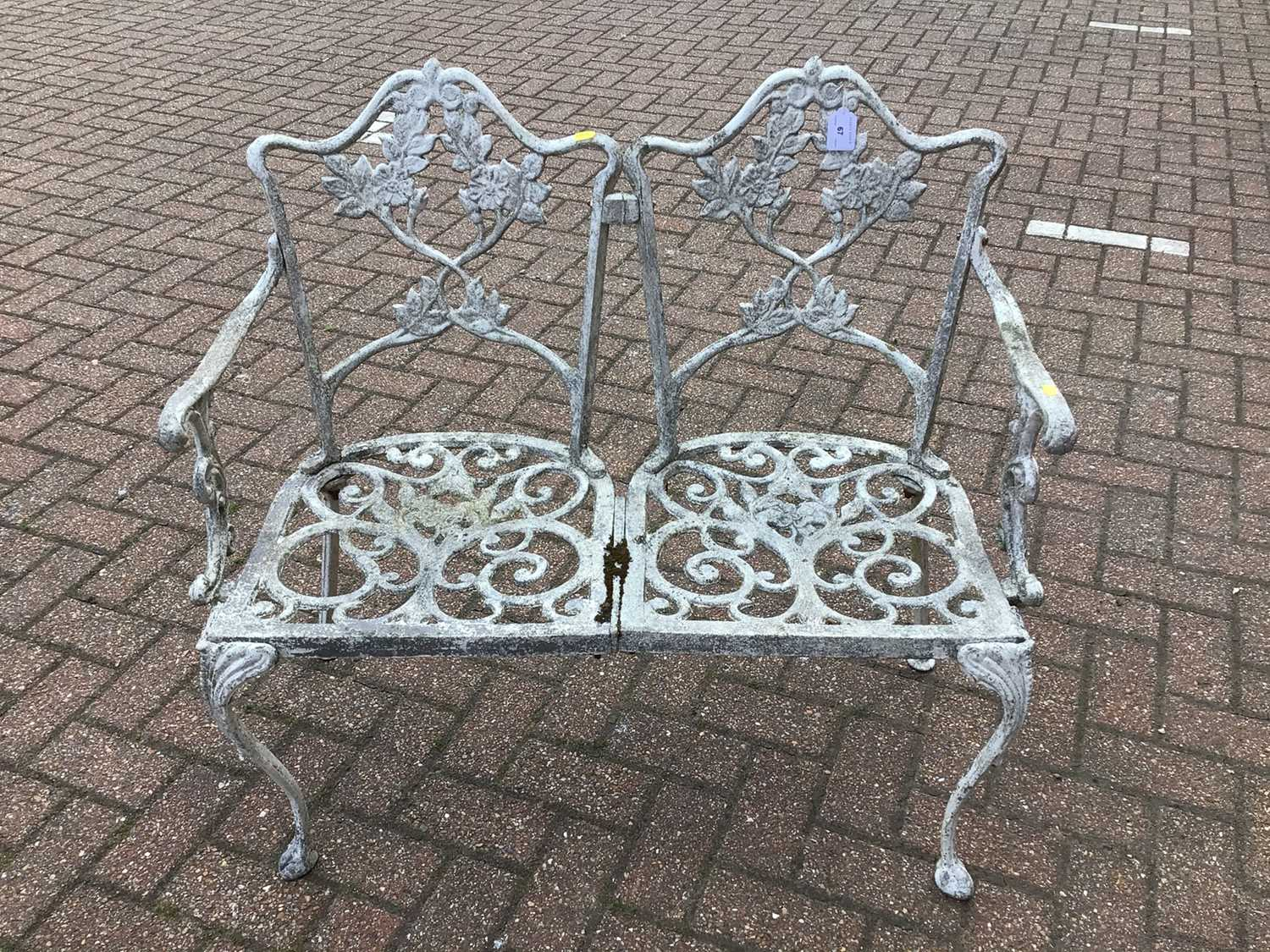Aluminium two seater garden bench 91cm wide x 84cm high with a revolving office chair