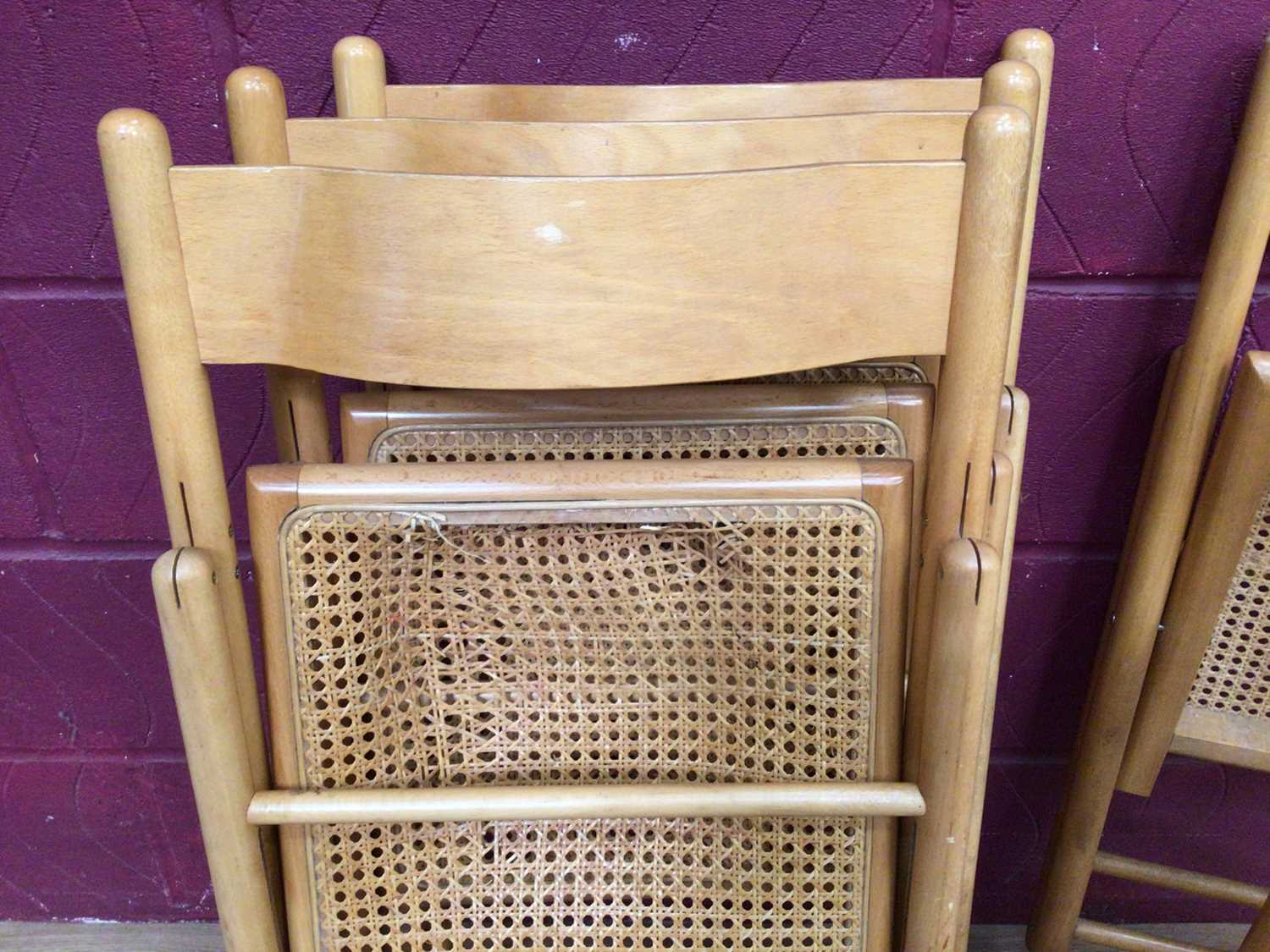 Six beech folding chairs with cane seats - Image 7 of 9