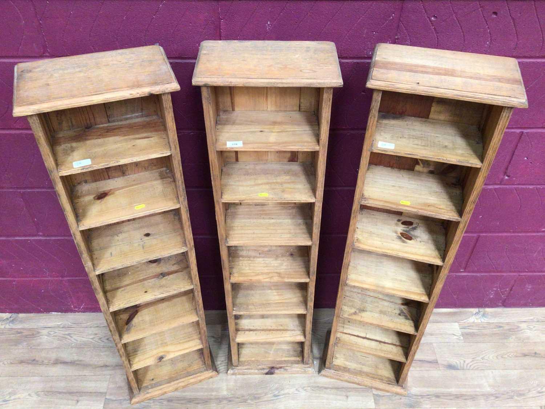 Three pine narrow high shelving units - Image 2 of 4