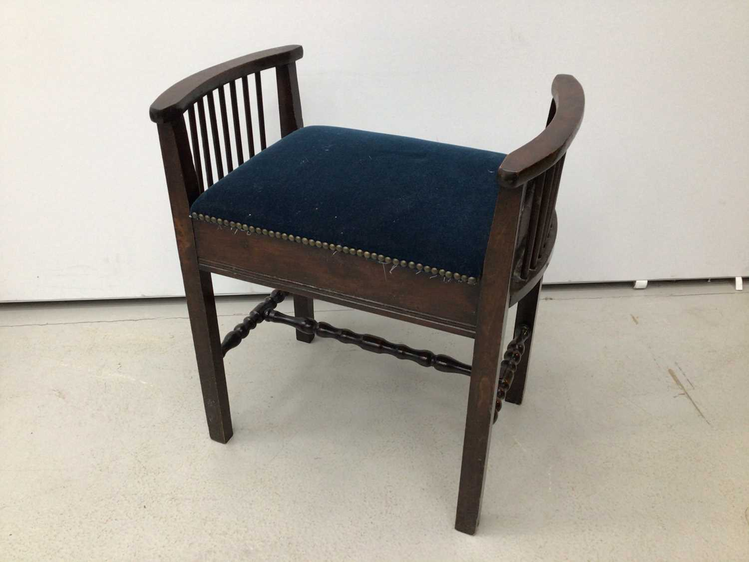 Victorian mahogany piano stool with blue upholstered seat on tripod base and a tiled top table and a - Image 5 of 13