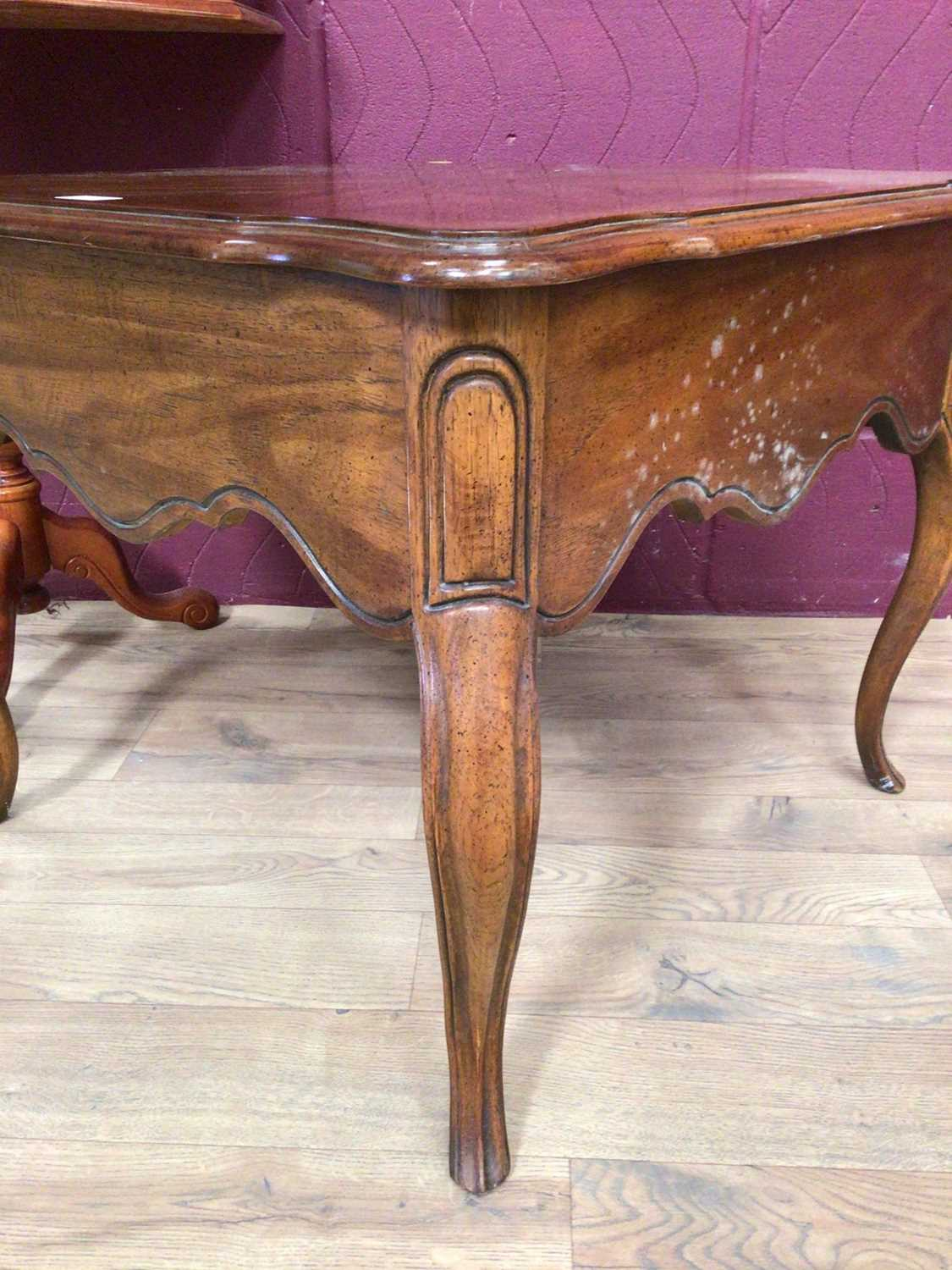 Italian inlaid marquetry table, low coffee table of square form with draw and a mirror (3) - Image 5 of 5