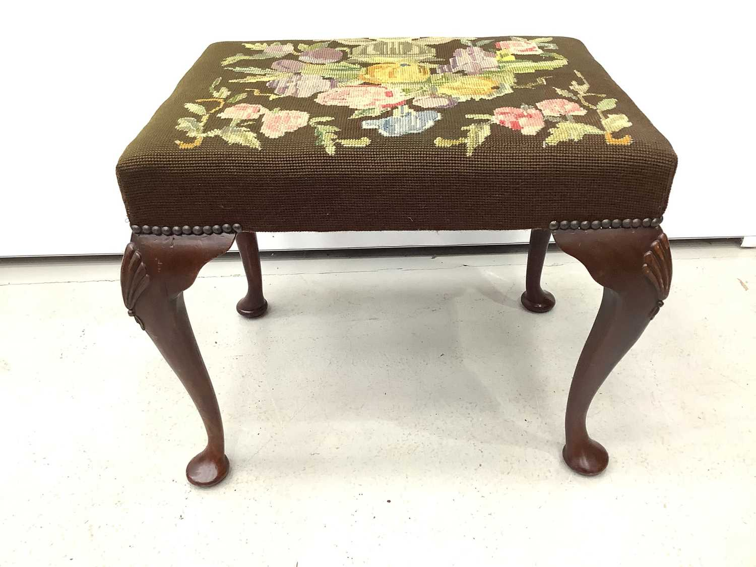 Good quality mahogany stool with floral tapestry seat on cabriole legs with shell knees, 52cm wide x - Image 6 of 6