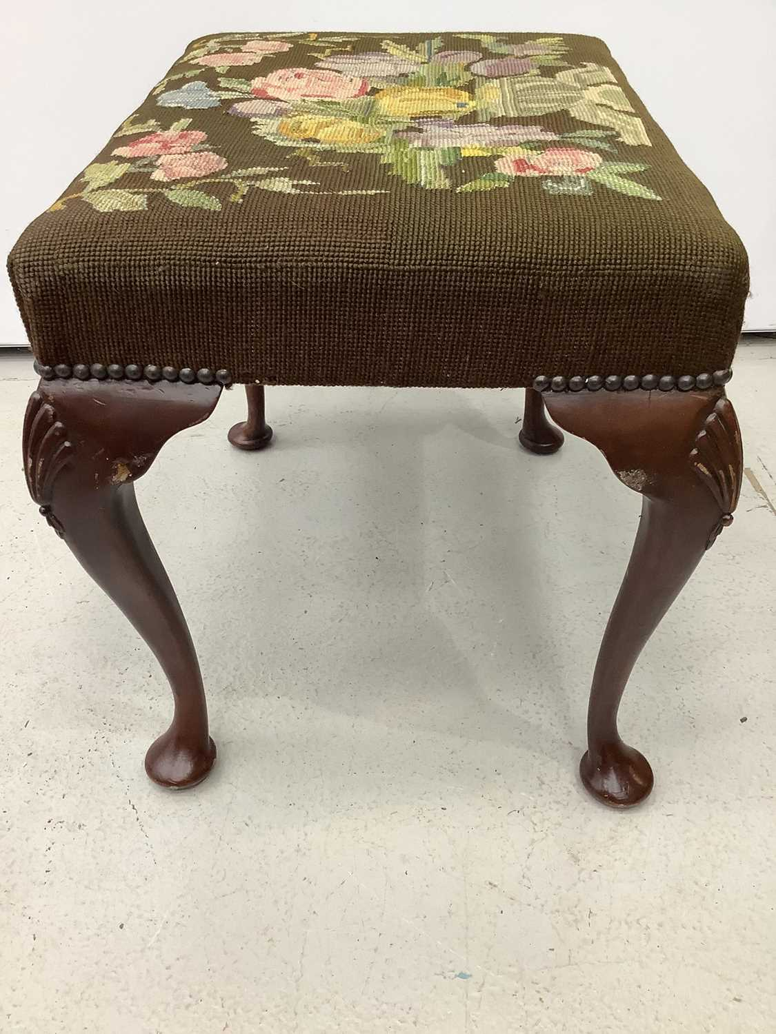 Good quality mahogany stool with floral tapestry seat on cabriole legs with shell knees, 52cm wide x - Image 3 of 6