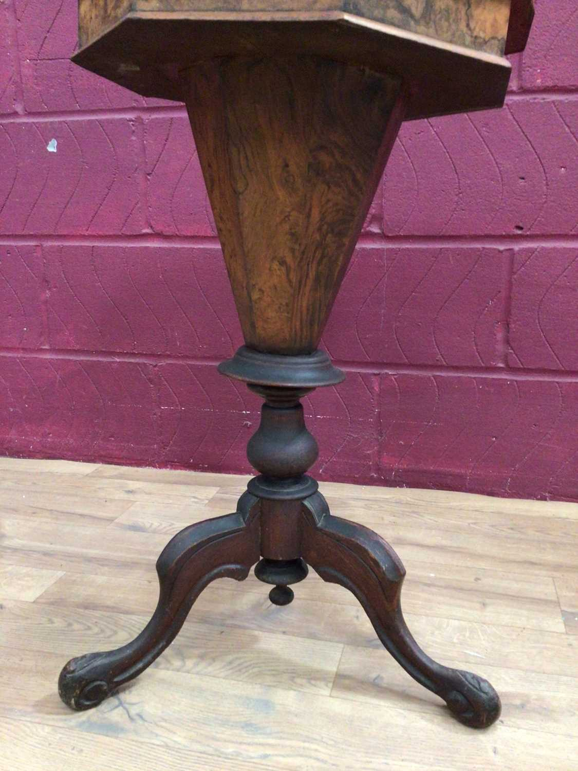Victorian sewing table on tripod base - Image 3 of 4