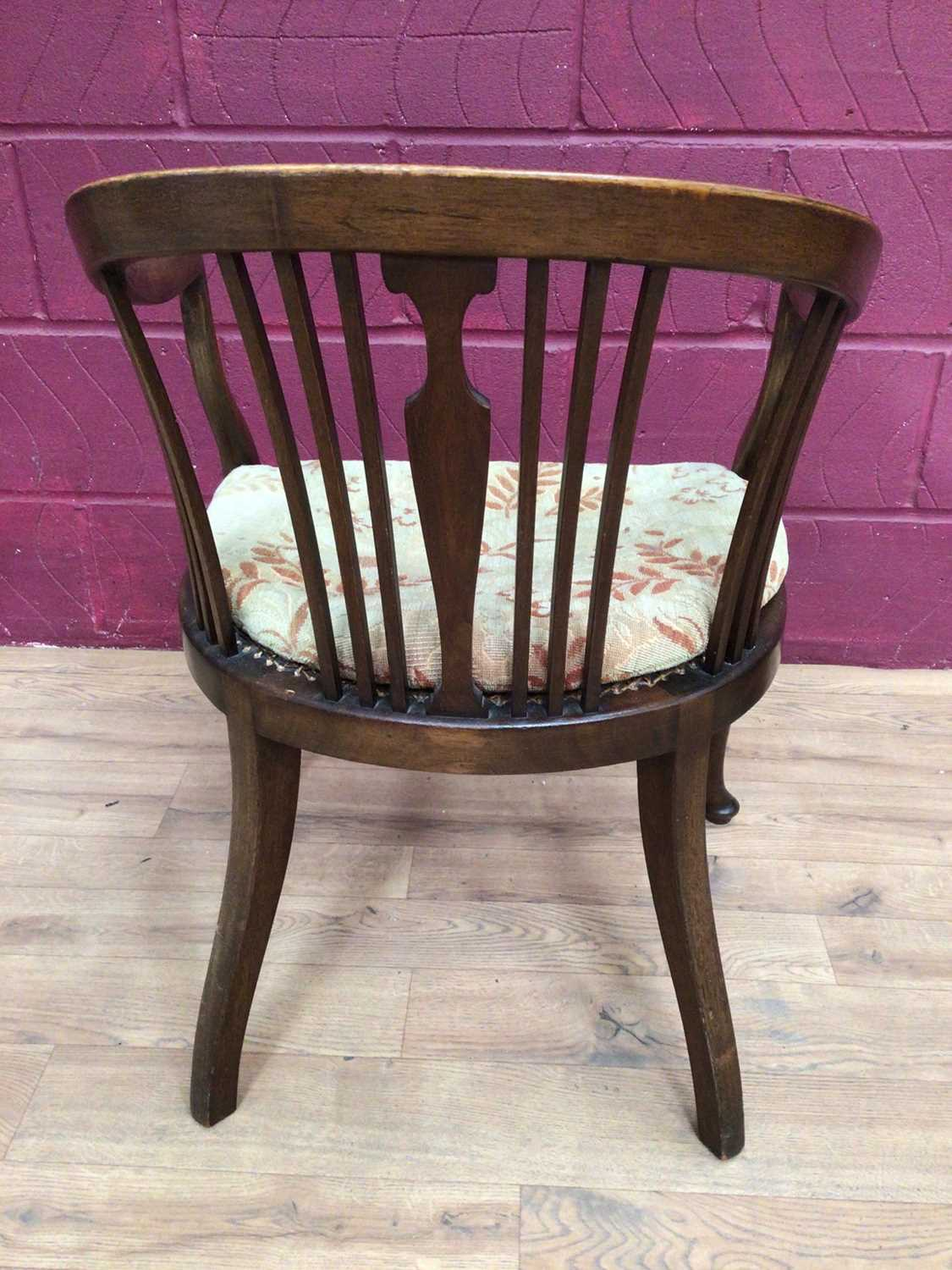 Edwardian mahogany tub chair with caned seat and a mahogany framed oval wall mirror (2) - Image 4 of 6