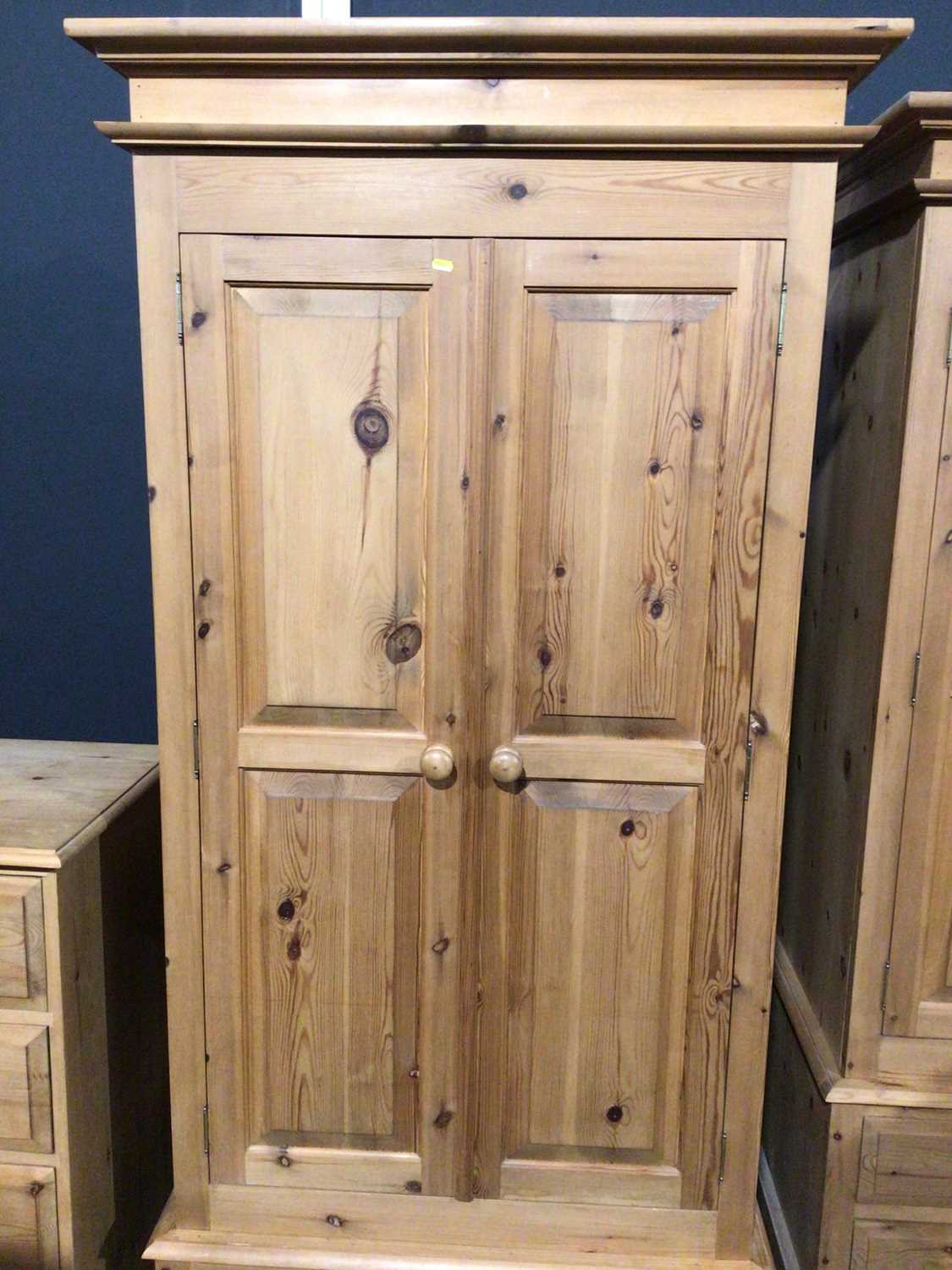 Modern pine double wardrobe with two panelled doors and drawer below, 97.5cm wide x 63cm deep x 208. - Image 2 of 14