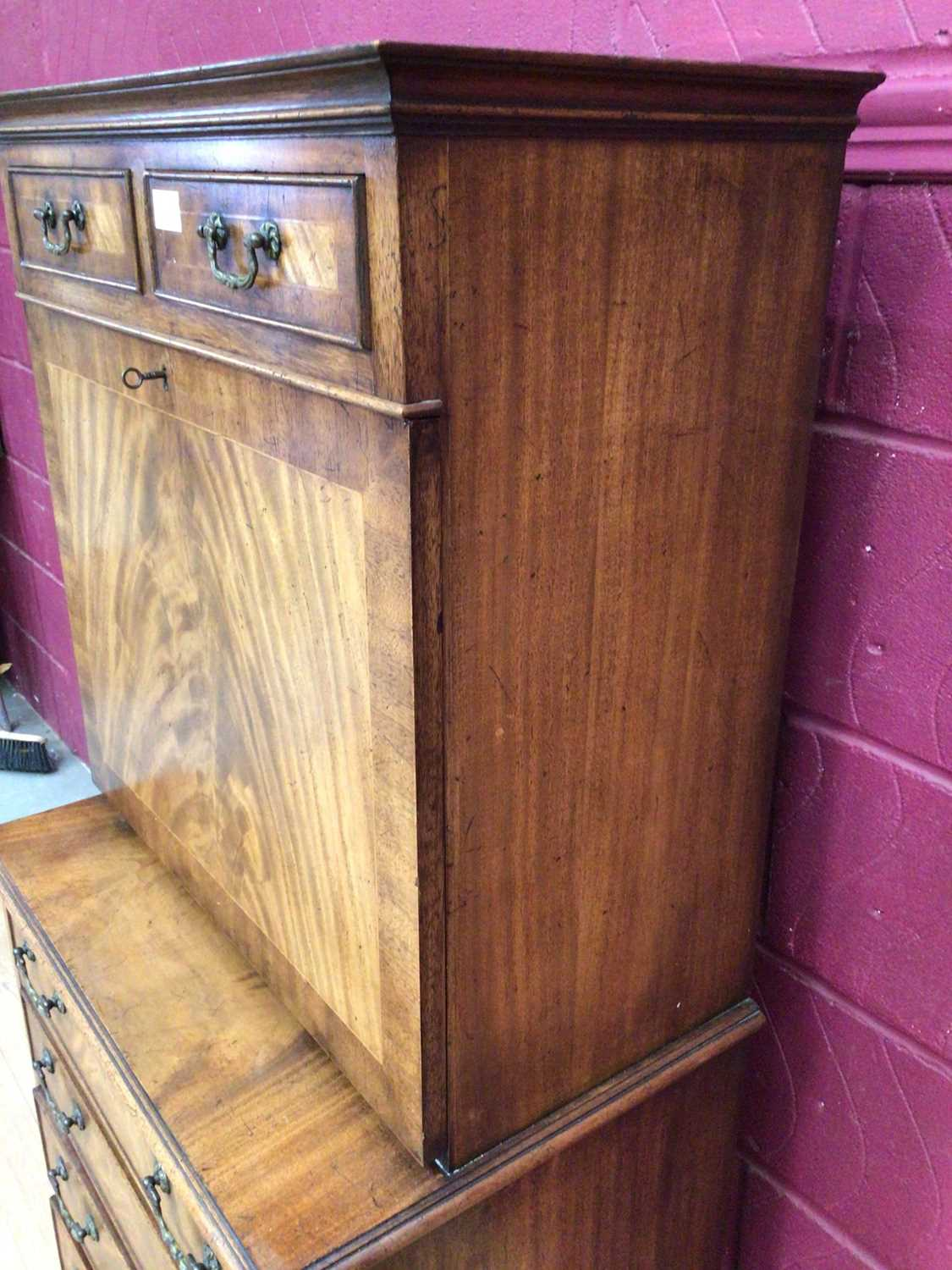 Good quality Georgian style mahogany secretaire chest with two top drawers, fall front with fitted i - Image 4 of 9