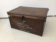 Metal bound trunk, 72cm wide x 51cm deep x 38cm high