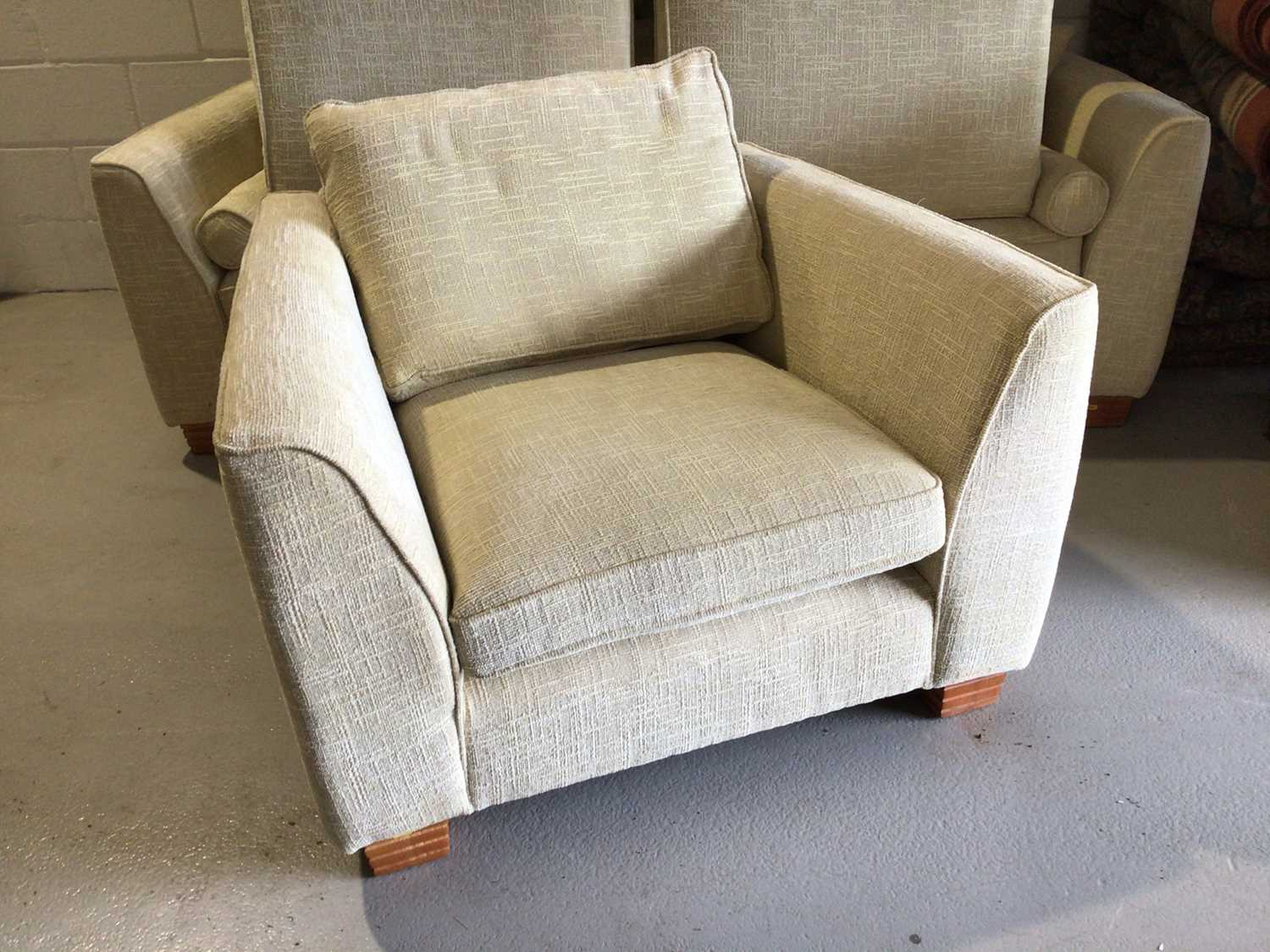 Contemporary three piece suite with pale yellow upholstery comprising a pair of two seater settees 2 - Image 10 of 13