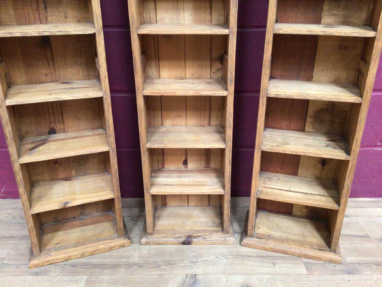Three pine narrow high shelving units - Image 4 of 4