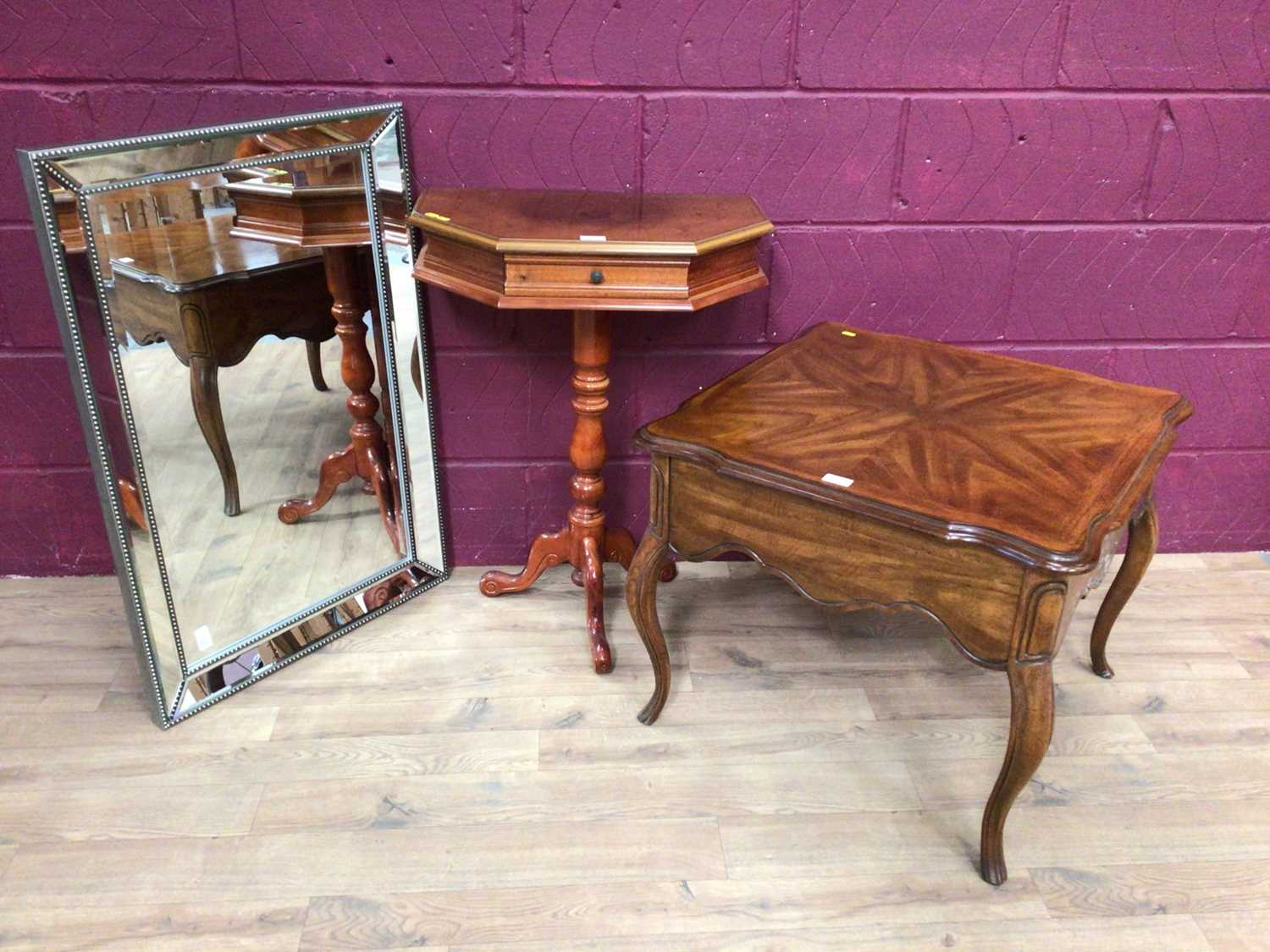 Italian inlaid marquetry table, low coffee table of square form with draw and a mirror (3)