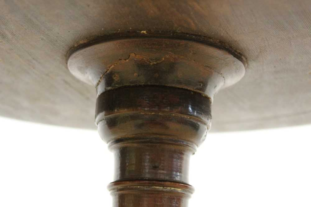 George III mahogany tripod wine table, with circular top on turned and shaped column and three splay - Image 3 of 6