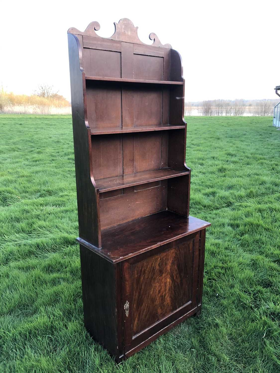 19th century mahogany and grained waterfall bookcase with scrolling top rail and graduated open shel - Image 6 of 7