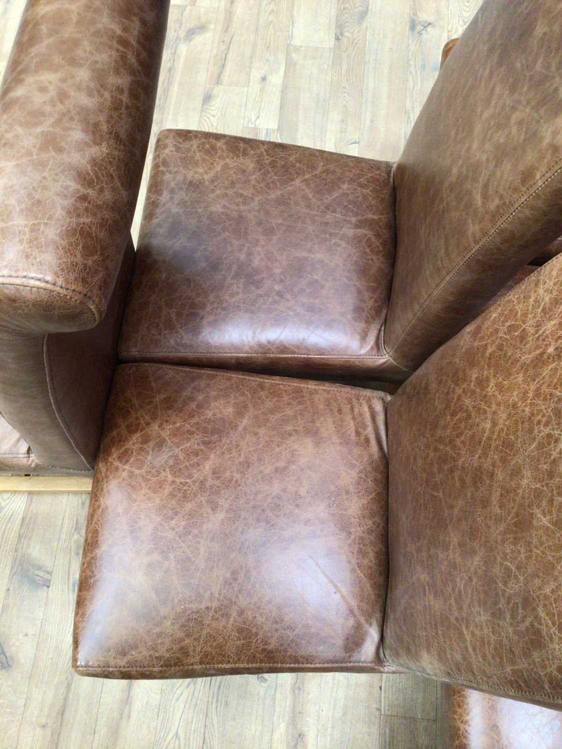 Set of six contemporary leather dining chairs - Image 2 of 5