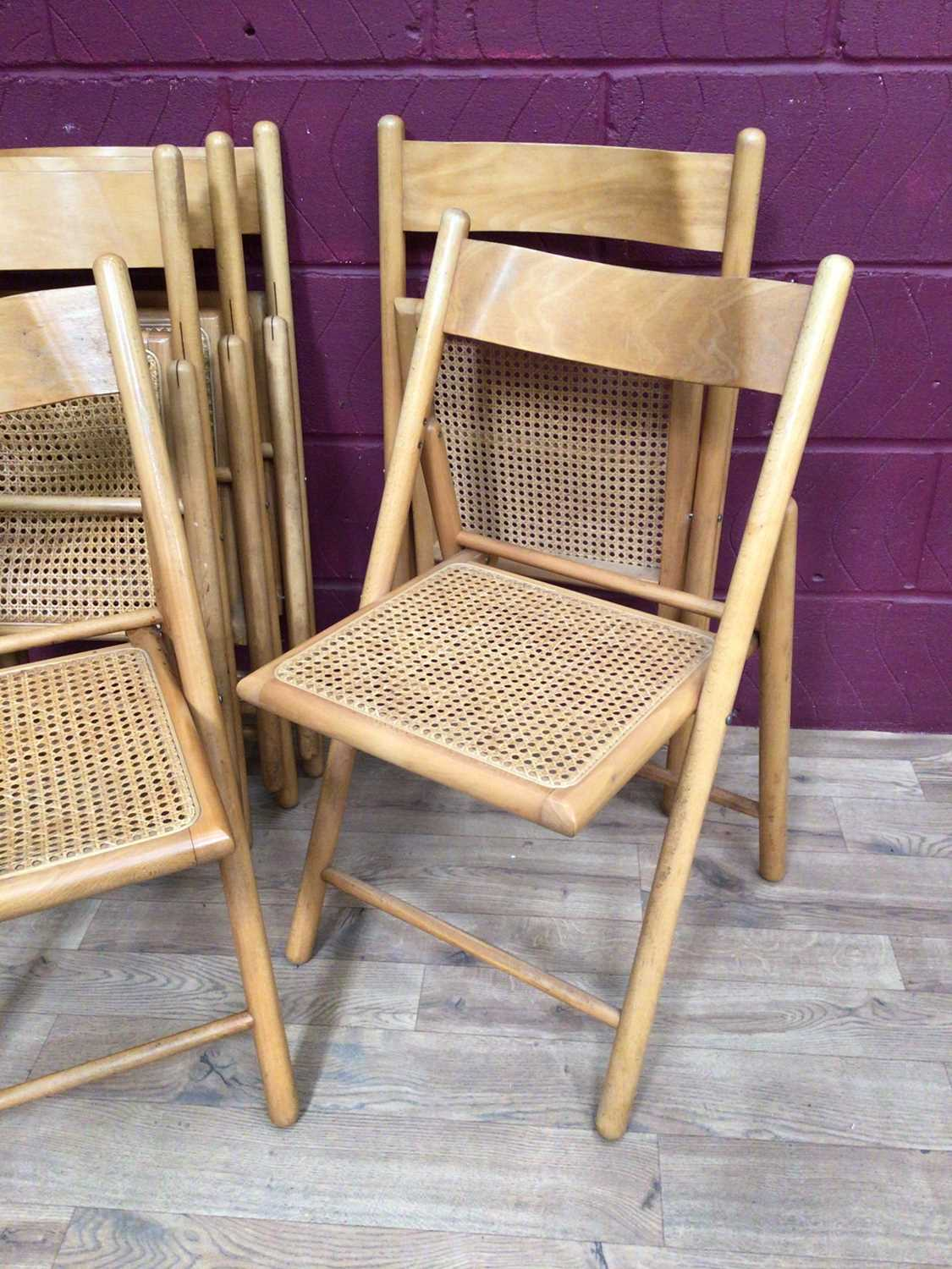 Six beech folding chairs with cane seats - Image 6 of 9
